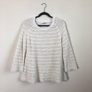 Anthropologie chunky fuzzy striped sweater